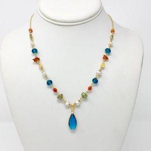 Multi-Color Necklace with Sea Blue Glass Teardrop